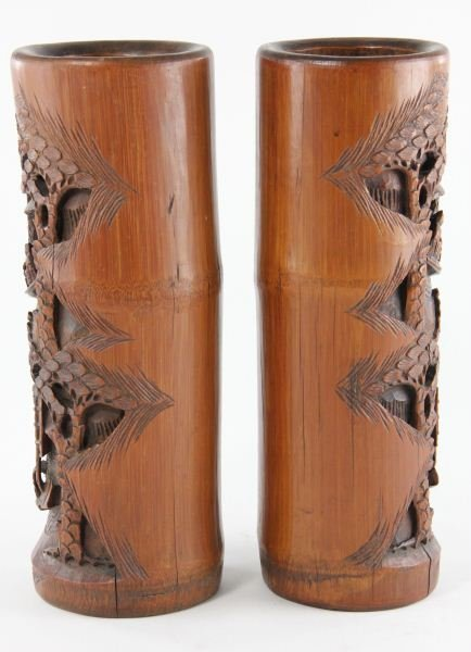 425: Pair of Chinese Carved Bamboo Vases - 2