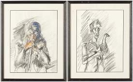 Eugene Thomason (NC, 1895-1972), Two Drawings