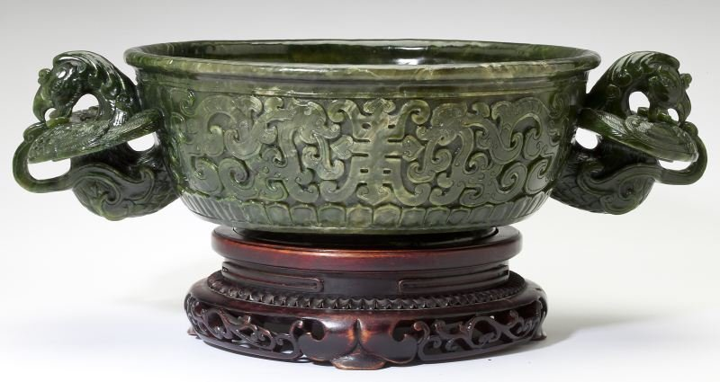 Large Chinese Spinach Jade Marriage Bowl
