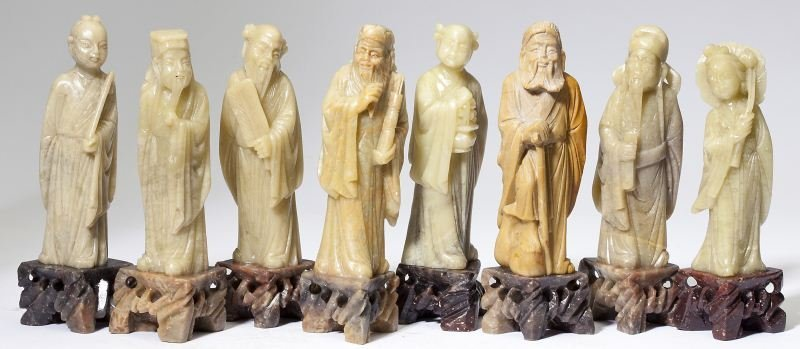 Chinese Jade-like Figurines of the Eight Immortals
