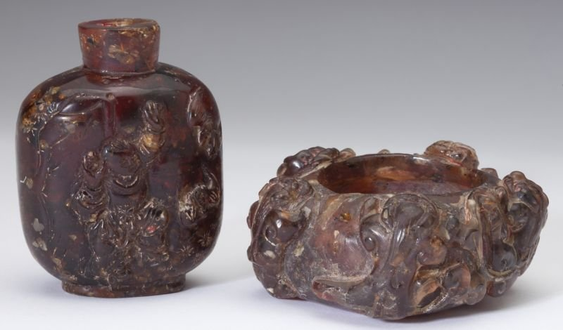 Two Chinese Amber Carvings