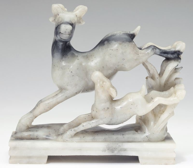 Chinese Carved Stone Leaping Deer and Fawn