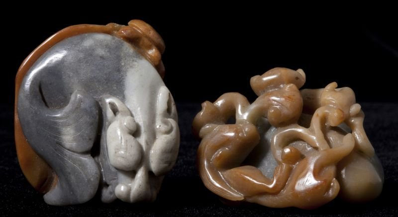 Two Chinese Jade Fish Carvings