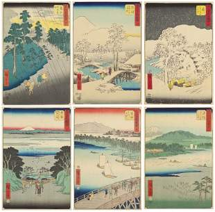 Ando Hiroshige (Japan, 1797-1858), Six Woodblocks