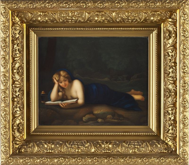 Large KPM Porcelain Plaque of Mary Magdalene
