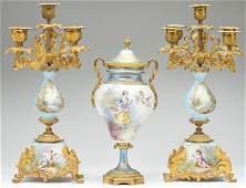 Three Piece French Sevres Style Garniture Set