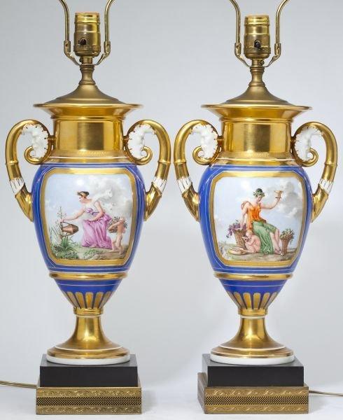 Pair of Old Paris Porcelain Urn Table Lamps