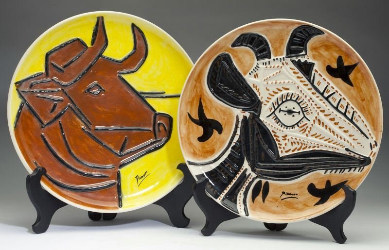 Two Ceramic Animal Plates after Pablo Picasso