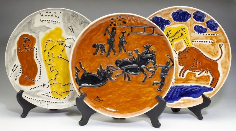 Three Ceramic Matador Plates After Pablo Picasso