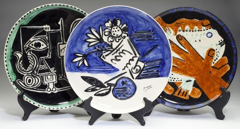 Three Ceramic Abstract Plates After Pablo Picasso