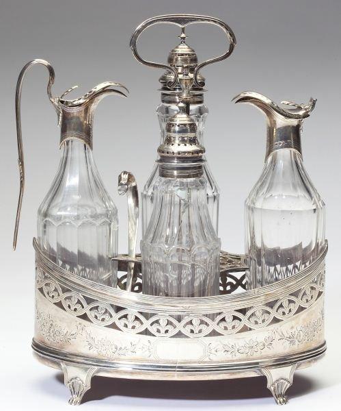 George III Silver Cruet Set by Peter & Ann Bateman