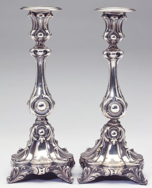 Pair of Silver Plate Baroque Style Candlesticks