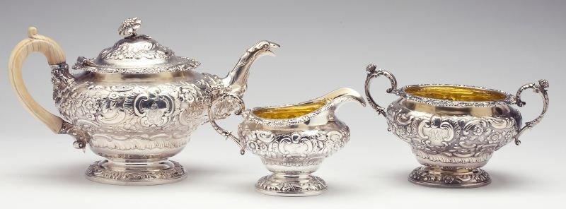 George III Silver Three Piece Tea Service