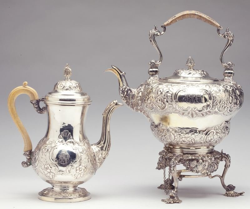 George III Silver Kettle on Stand & Coffee Pot