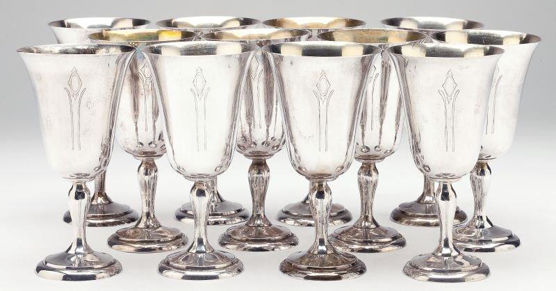 Set of Twelve Chinese Export Sterling Goblets