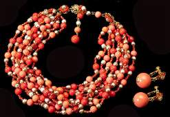 A Faux Pearl and Coral Suite Miriam Haskell