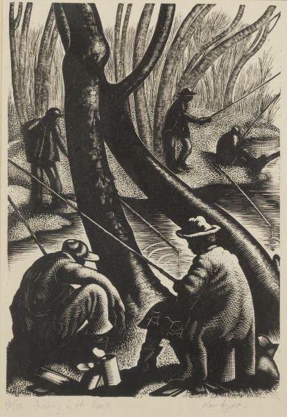"""Clare Leighton (1898-1989), """"Fishing in the Creek"""""""