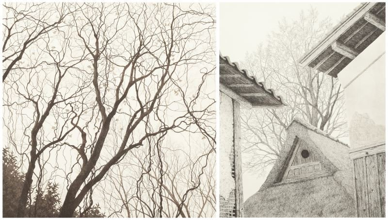Ryohei Tanaka (Japan, b. 1933), Two Etchings