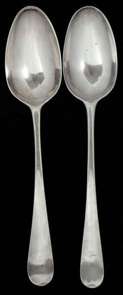 Two Picture Back Silver Spoons by Hester Bateman