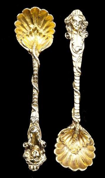 Pair of Georgian Silver-Gilt Salt Spoons