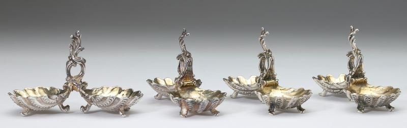 Four French Rococo Silver Master Salts