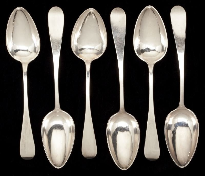 Six Imperial Russian Silver Tablespoons