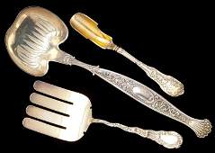 Three Antique American Sterling Silver Servers