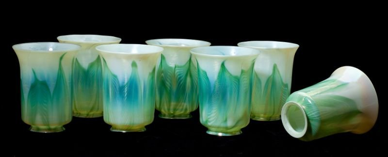 Seven Pulled Feather Art Glass Shades