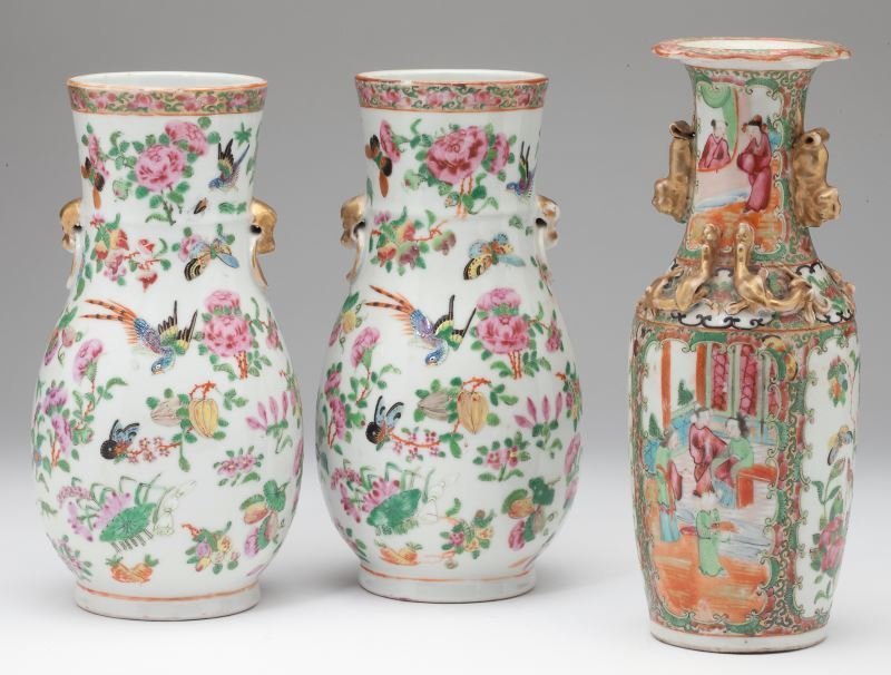Group of Three Chinese Export Porcelain Vases