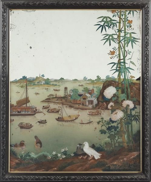 Chinese Reverse-Glass Mirror Painting