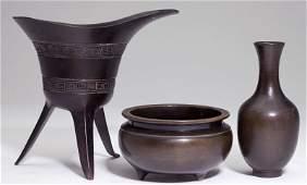 Three Chinese Patinated Bronze Articles