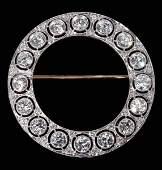Edwardian Platinum and Diamond Circle Brooch