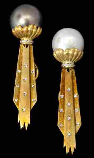 Gold, South Sea Pearl and Diamond Ear Clips