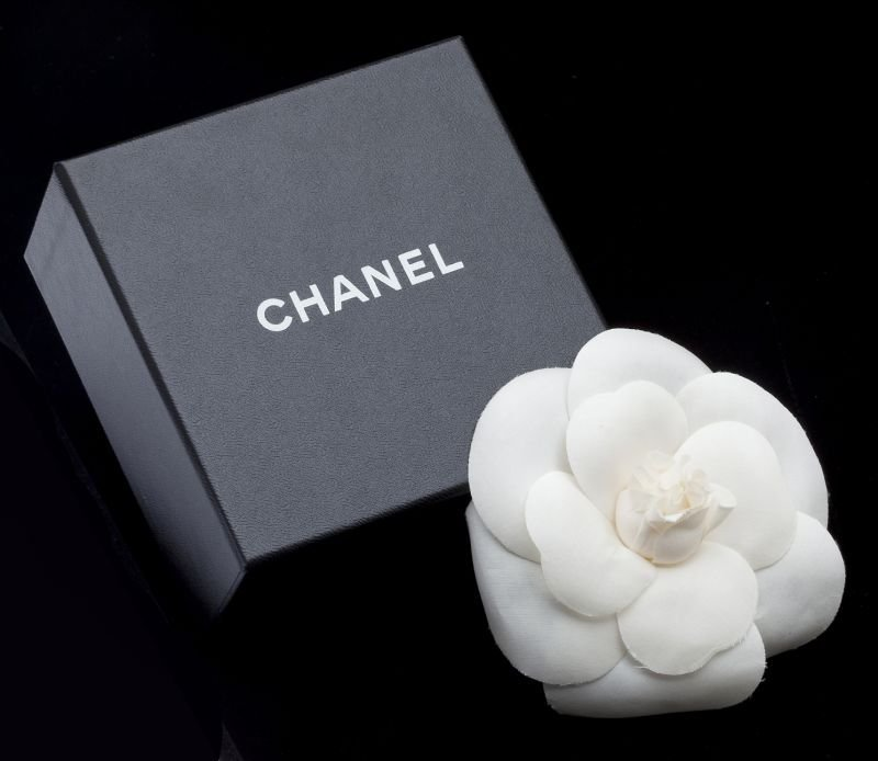 "Large White Silk ""Camellia"" Brooch, Chanel"