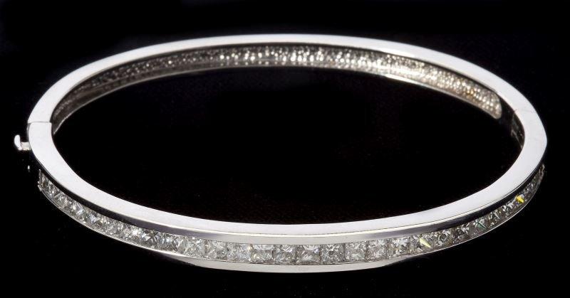 White Gold and Diamond Bangle Bracelet