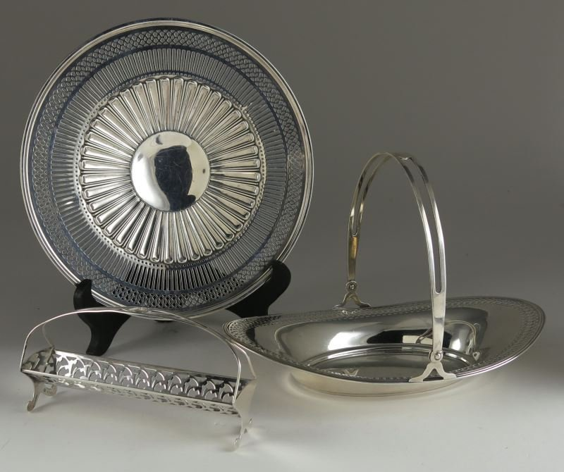 Three American Sterling Silver Reticulated Servers