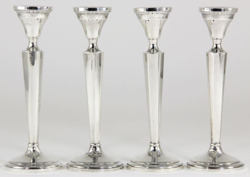 Set of (4) Sterling Silver Candlesticks