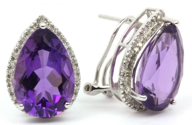 14KT Amethyst and Diamond Ear Clips