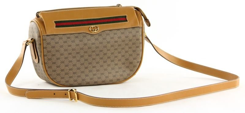 Logo Canvas and Leather Shoulder Bag, Gucci