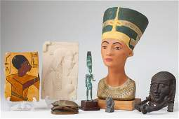 Seven SemiAntique Decorative Egyptian Objects
