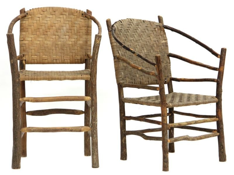 Two Tall Twig Art Bowback Chairs