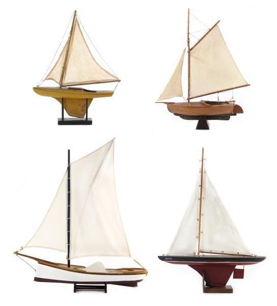 Four Vintage Model Sailboats