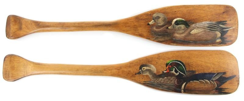 Pair of Hand-Painted Decorative Canoe Paddles