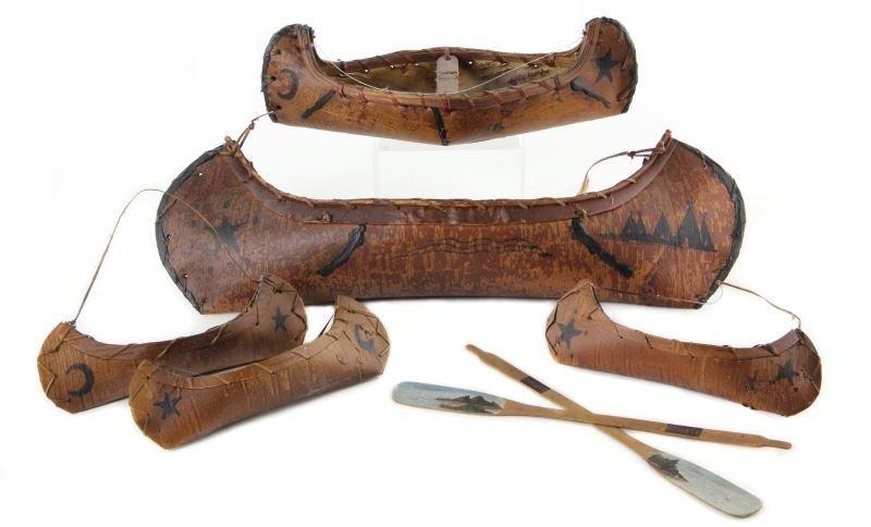 Five Paint-Decorated Birch Bark Canoe Models