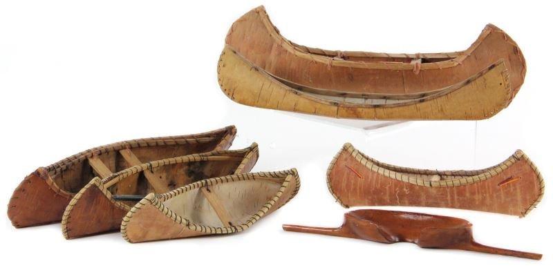 Six Small Birch Bark Canoe Models