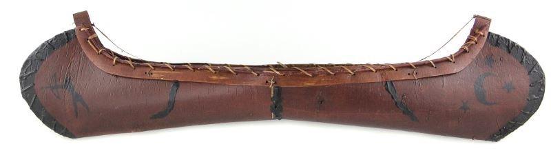 Vintage Birch Bark Otca Style Canoe Model