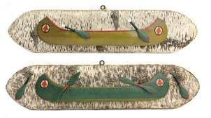 Pair of Folk Art Canoe Wall Mount Plaques