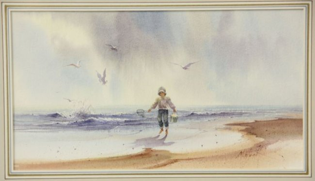 M Wyatt Am 20th C Two Coastal Watercolors Lot 302