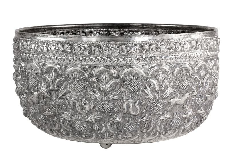 Antique Thai Silver Zodiac Bowl