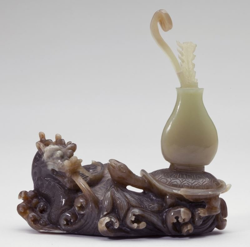 Chinese Russet and Celadon Jade Carving